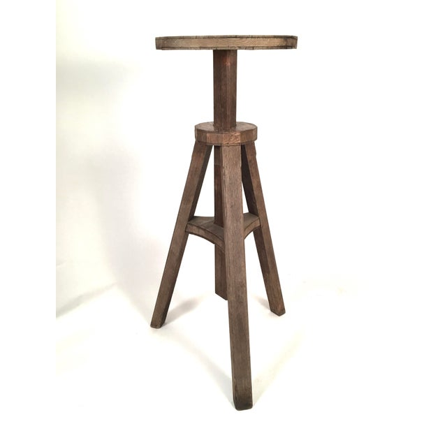 Oak Adjustable Height Sculptor's Stand For Sale - Image 4 of 8