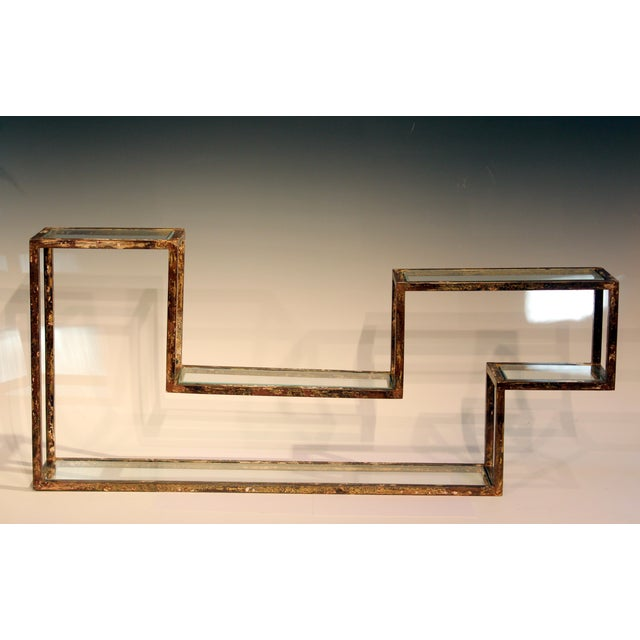 1960s 1960s Mid-Century Modern Display Shelf Glass Steel Case Tabletop Curio Gilt For Sale - Image 5 of 12