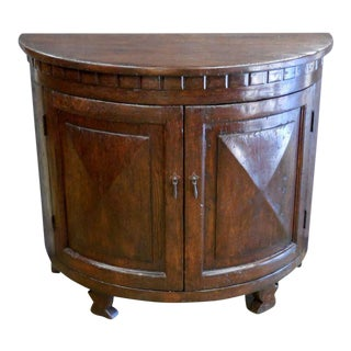 Custom Oak Wood Demilune Cabinet For Sale