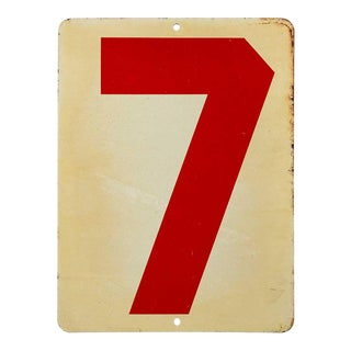 Vintage Mid Century Number 7 Gas Station Sign For Sale
