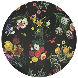 "Nicolette Mayer Flora Fauna Black 16"" Round Pebble Placemats, Set of 4 For Sale"