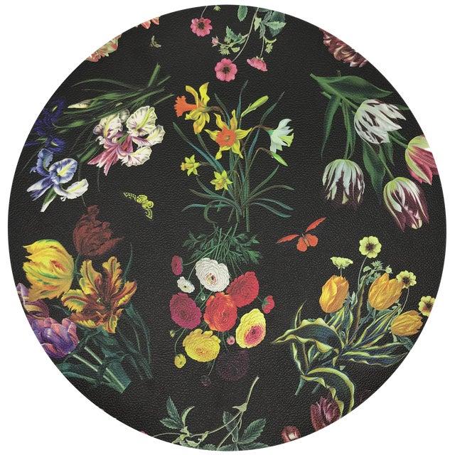 "Nicolette Mayer Flora Fauna Black 16"" Round Pebble Placemats, Set of 4 For Sale"