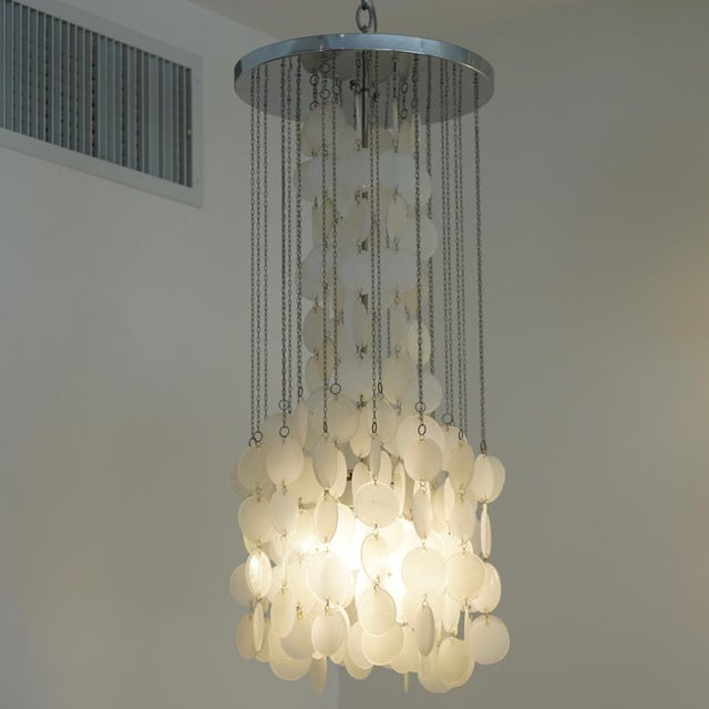 Mazzega Murano Cascade White Glass Disk Chandelier For Sale In Los Angeles - Image 6 of 9