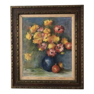 Mid-Century Floral Oil Painting by Esther Heffler For Sale