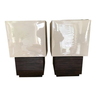Pair of Square Wood Table Lamps For Sale