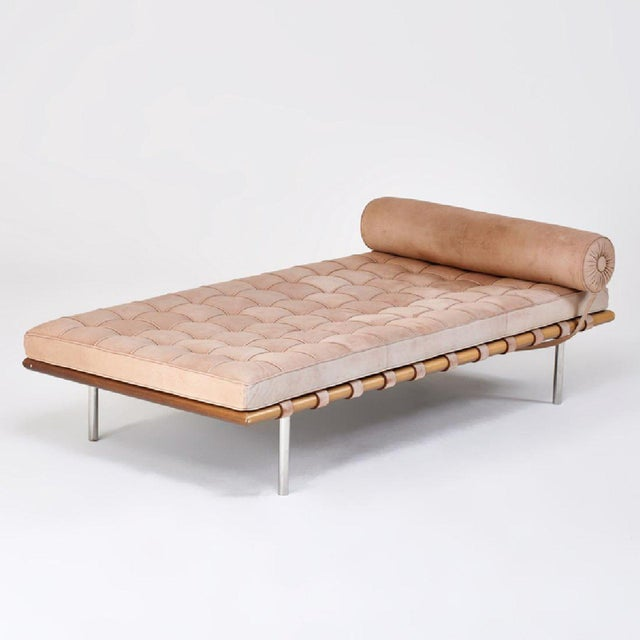 A Luxe Chaise With Sleek Suede Upholstery And Walnut Frame The Barcelona Daybed By Ludwig