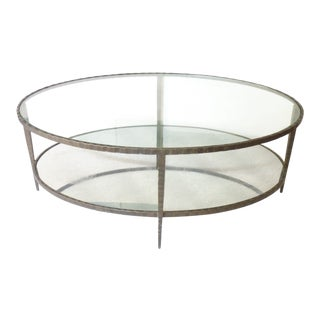 20th Century French Deco Style Iron Oval Coffee Table For Sale