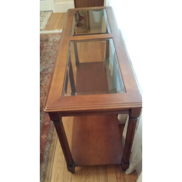 Vintage Solid Fruitwood and Beveled Glass Console Table - Image 3 of 11