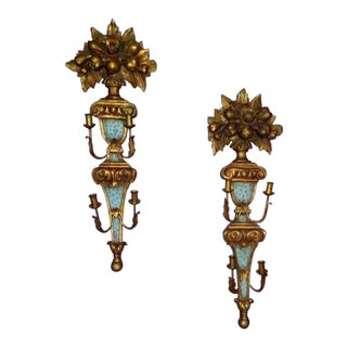Antique Italian Wood Tole Wall Sconces - a Pair For Sale