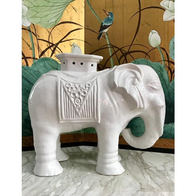 Vintage Chinoiserie Blanc De Chine Elephant Garden Stool For Sale - Image 4 of 9