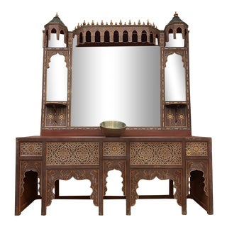 Intricate Handpainted Moroccan Style Bathroom Vanity With Mirror For Sale
