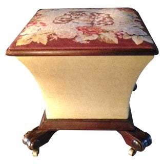 King Charles Spaniel Petit Point Ottoman Box For Sale