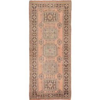 Vintage Turkish Peach & Muted Turquoise Runner Rug - 4′ × 11′