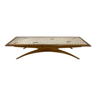 Mid Century Modern Tile-Top and Walnut Coffee Table For Sale