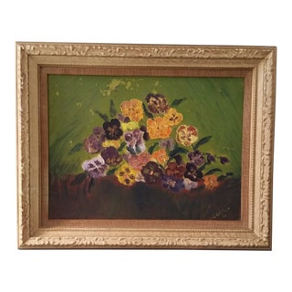 1966 Vintage Pansies Still Life Signed Oil on Canvas Painting