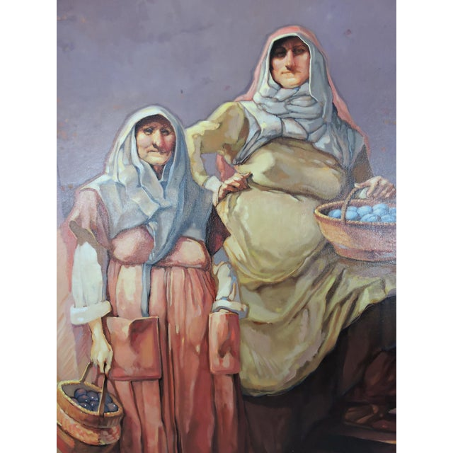 Islamic Late 20th Century 'The Market Sellers', Framed Oil Painting on Canvas For Sale - Image 3 of 8