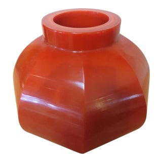Robert Persimmon Kuo Hand Blown Peking Glass Vase, Signed For Sale