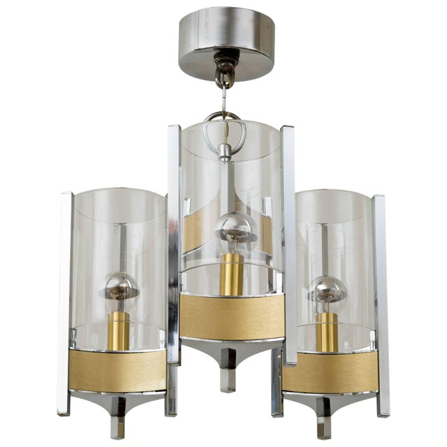 Transparent Sciolari Brushed Brass and Chrome Hurricane Glass Chandelier For Sale - Image 8 of 8