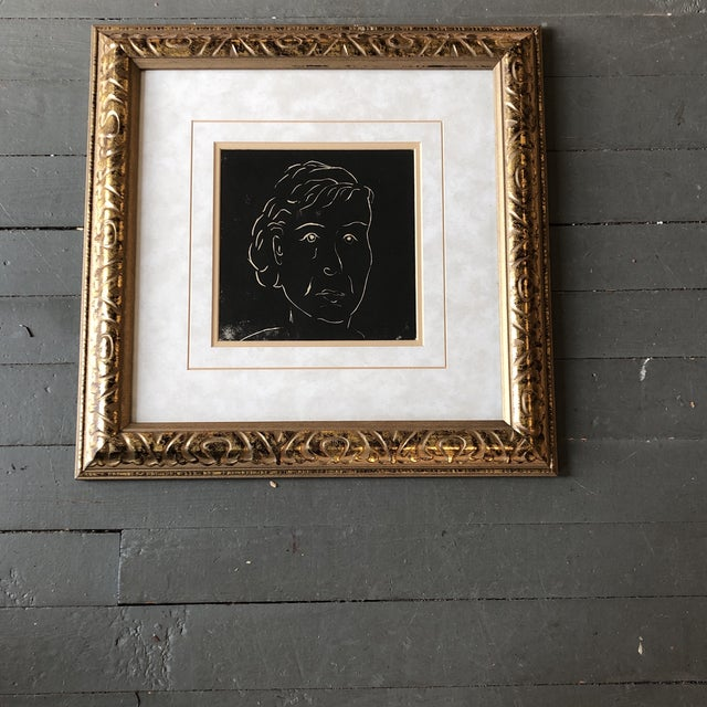 1950s Original Vintage Female Portrait Wood Block Print Matisse Style Ornate Frame For Sale - Image 5 of 5