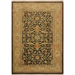Antique Vintage Low-Pile Sharonda Green/Tan Wool Area Rug - 3'1 X 4'10