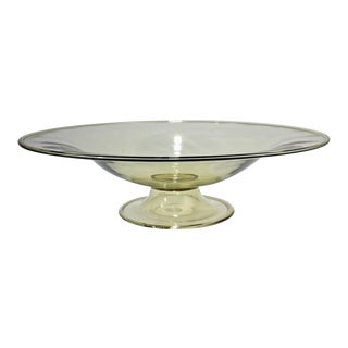 Large Venetian Midcentury Glass Footed Bowl Centrepiece Attributed to Salviati For Sale