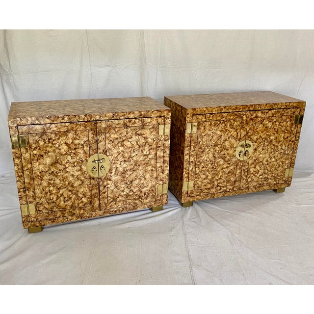 Vintage Henredon Faux Tortoiseshell Cabinets- a Pair For Sale - Image 13 of 13