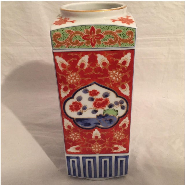 Contemporary Contemporary Japanese Imari Porcelain Column Vase For Sale - Image 3 of 7