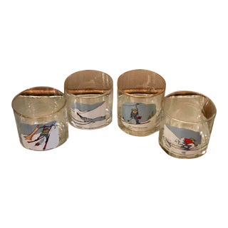 "1960s Ashby Vintage ""Skiers"" Lowball Glasses - Set of 4 For Sale"