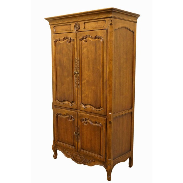 20th Century Traditional Henredon Furniture Media Armoire Cabinet For Sale - Image 10 of 10
