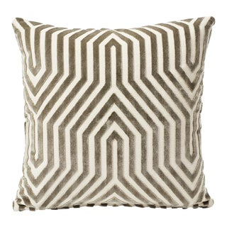 Schumacher Double-Sided Pillow in Vanderbilt Velvet Print For Sale