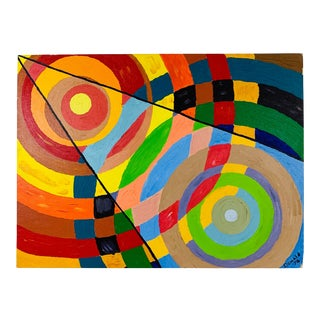 1974 Signed Abstract Geometric Painting For Sale