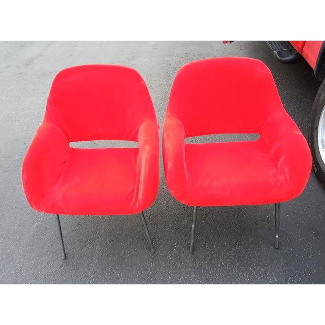 Red Velvet Chairs - Pair - Image 3 of 6