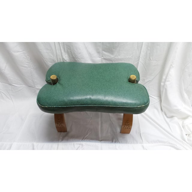 Vintage Camel Saddle Stool with Teal Cushion For Sale - Image 4 of 11