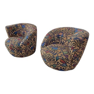 1980's Vladimir Kagan Nautilus Swivel Chairs - A Pair
