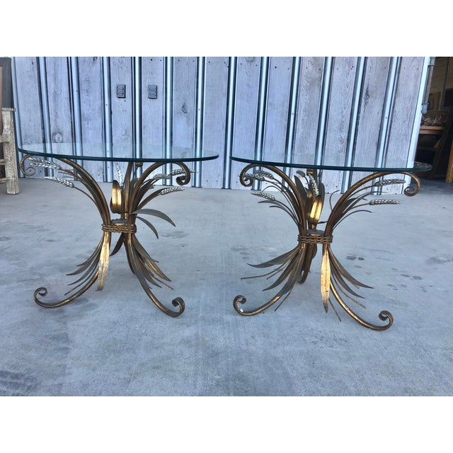 Metal Midcentury Italian Gold Leaf Iron Side Tables - Pair For Sale - Image 7 of 7