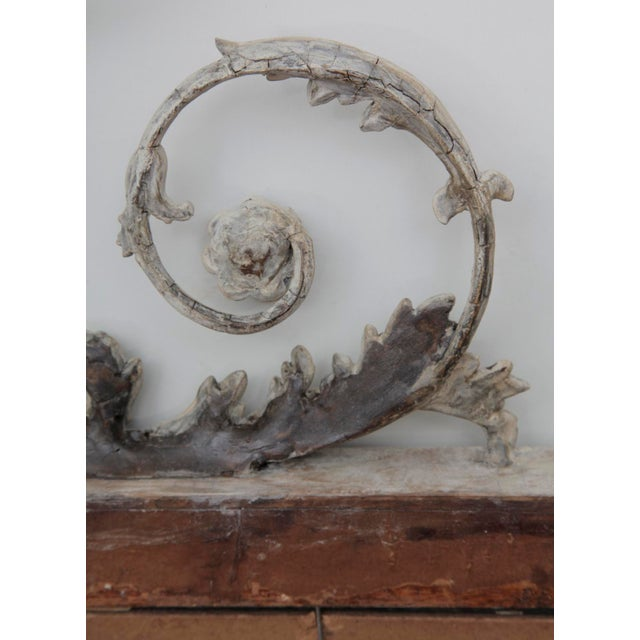 Metal Antique English Neoclassical Scroll Motif Mirror For Sale - Image 7 of 10