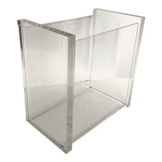 Vintage Modern Minimal Lucite Magazine Rack Holder For Sale