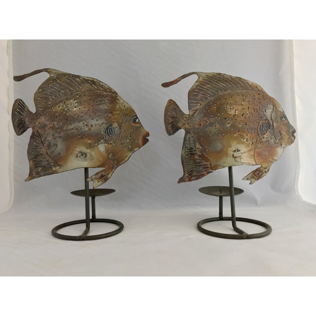 Brutalist Metal Fish Candle Holder - the Pair For Sale - Image 13 of 13