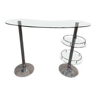 Mid Century Modern Chrome and Glass Dry Bar For Sale