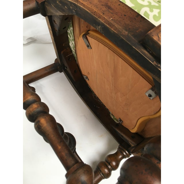 French Oak Cane Back Upholstered Chairs - A Pair - Image 11 of 11