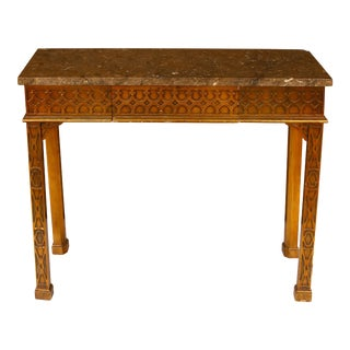 Gothic Stone Top Console with Drawer For Sale