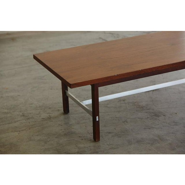 1950s Paul McCobb Walnut and Aluminum Coffee Table for Calvin Furniture For Sale - Image 5 of 9