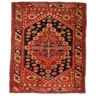 Antique Turkish Serapi Design Hand Knotted Wool Rug - 3′ × 3′7″