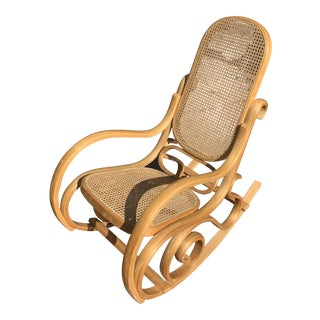 Cane Bentwood Rocking Chair In The Style of Michael Thonet For Sale