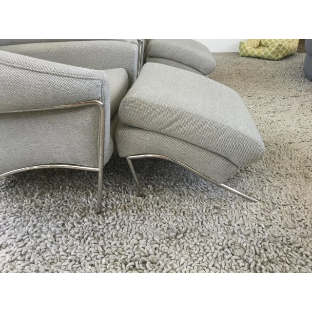 Metal Modern Milo Baughman for Thayer Coggin Boldido Chairs and Ottomans- a Pair For Sale - Image 7 of 11