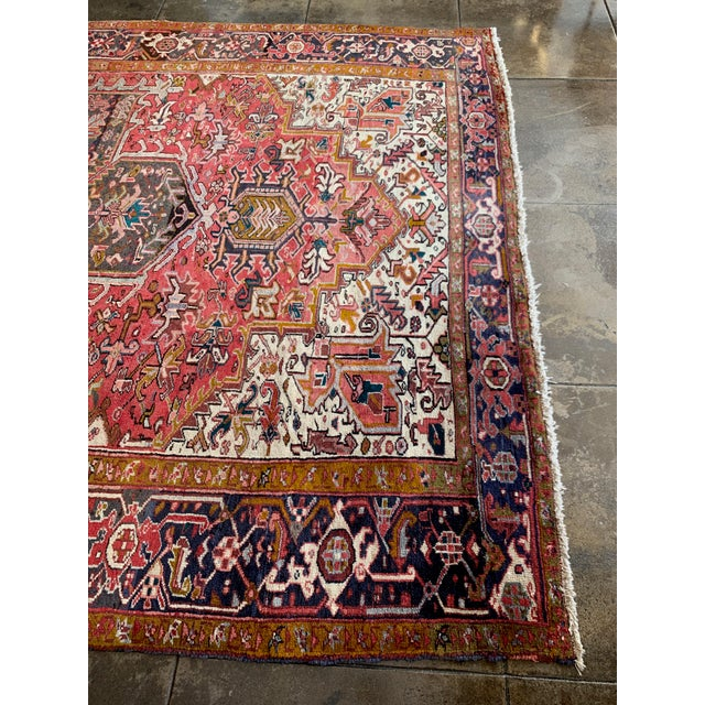"1940s Persian Heriz Rug 11' 10"" X 7'4"" For Sale In Los Angeles - Image 6 of 9"