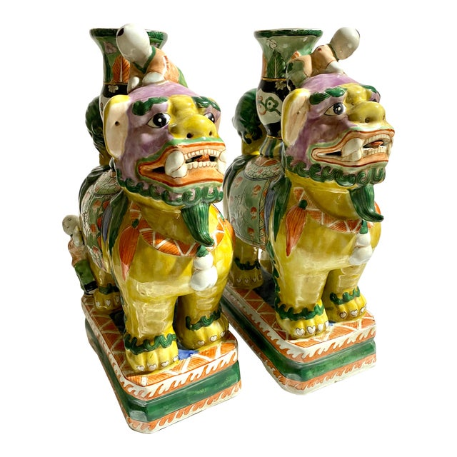 Chinese Foo Dog Candlesticks - a Pair For Sale