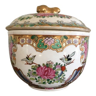 Vintage Chinoiserie Jar With Foo Dog Finial For Sale