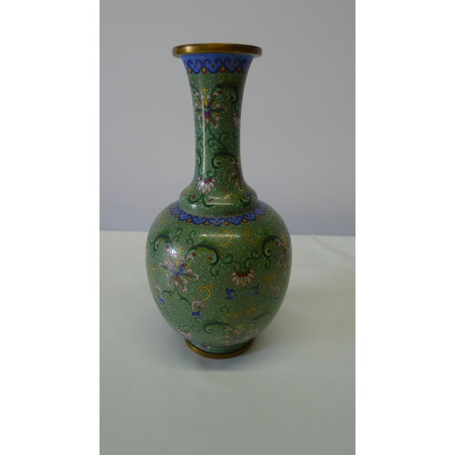 20th Century Chinese Green Cloisonné Vase For Sale - Image 9 of 9