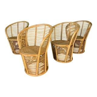 Horizontal Rattan Albini Style Barrel Dining Chairs - Set of 4 For Sale